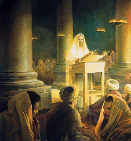 Christ teaching in synagogue