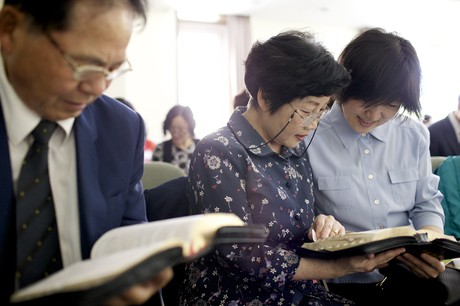 adults reading scriptures