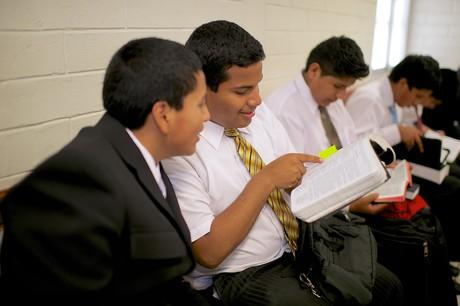 young men in class