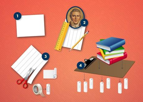 paper, scissors, ruler, tape, books