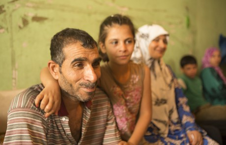 Family in a refugee camp
