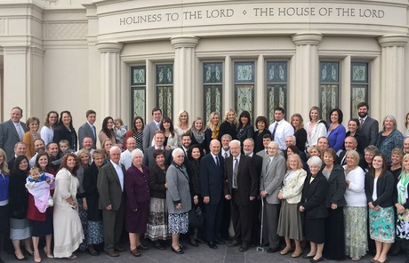 Elder and Sister Nelson at the temple with the Hatfield family