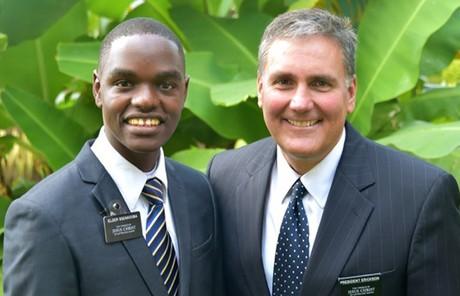 Elder Joseph Ssengooba and President Leif Erickson