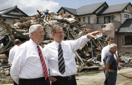 Gary E. Stevenson and H. David Burton in Japan