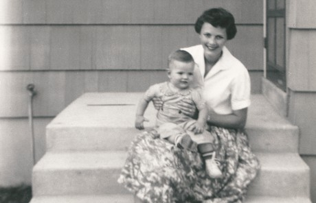 Young Gary E. Stevenson with mother
