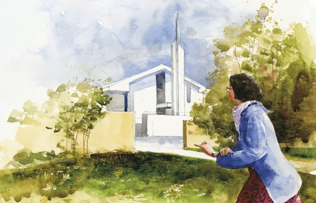 woman rushing to church