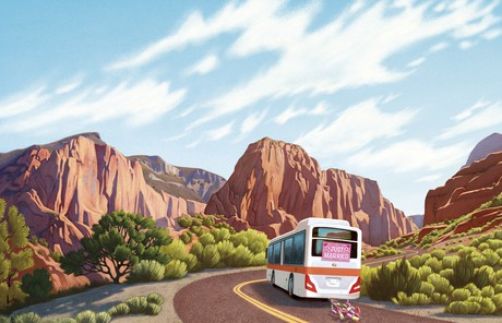 bus driving in Kolob Canyons