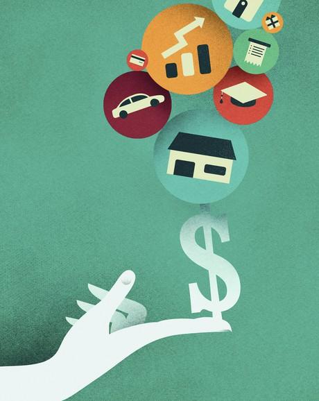 hand balancing financial symbols