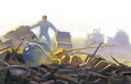man standing in rubble