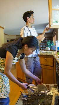 young people doing dishes