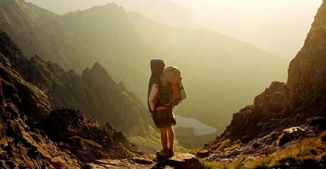 hiker viewing vista