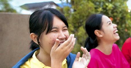 young women laughing