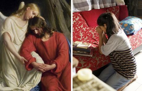 Savior with angel, and young woman praying