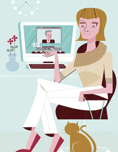 woman with computer