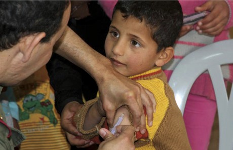 child being immunized