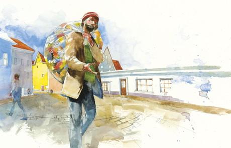 man carrying bag