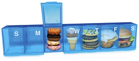 food in pill holders