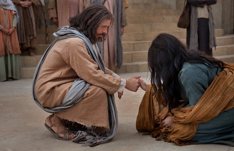 Savior speaking to woman taken in adultery