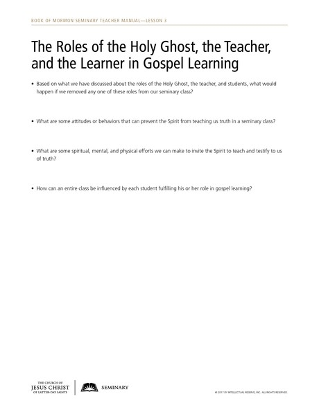 handout, roles of the Holy Ghost, teacher, learner