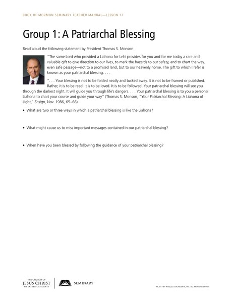 handout, Group 1: A Patriarchal Blessing