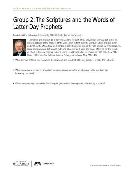 handout, Group 2: The Scriptures and the Words of Latter-Day Prophets