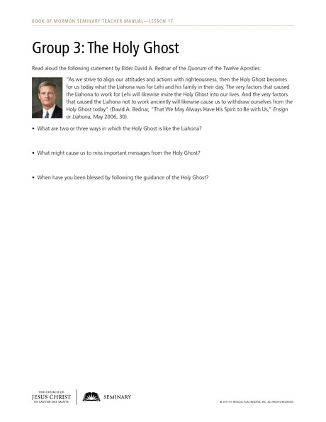 handout, Group 3: The Holy Ghost