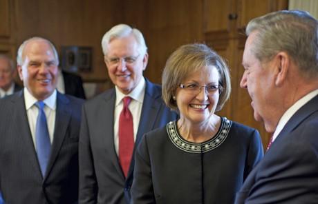 Linda K. Burton meeting Elder Holland