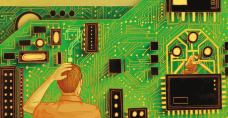circuit board and young man