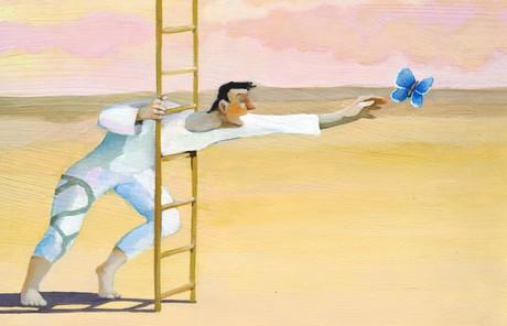 reaching through a ladder