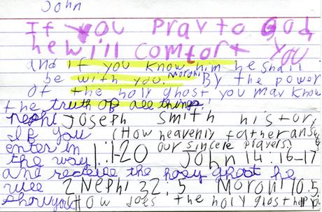 Handwritten family home evening lesson