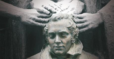 statue of Joseph Smith receiving the priesthood