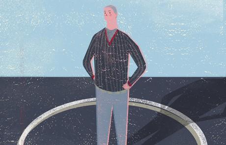 man standing in circle