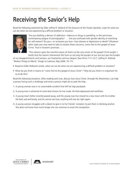 handout, Receiving the Savior's Help