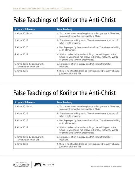 handout, False Teachings of Korihor