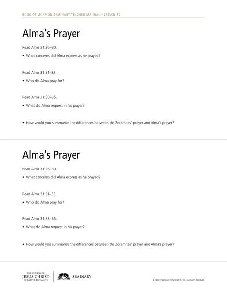 handout, Alma's Prayer
