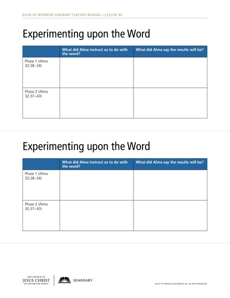 handout, Experimenting upon the Word