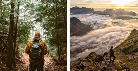 hiker in woods; hiker looking at vista