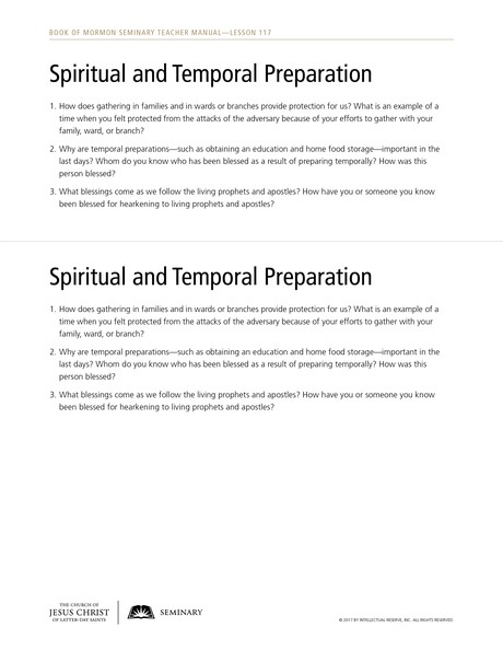 handout, spiritual and temporal preparation