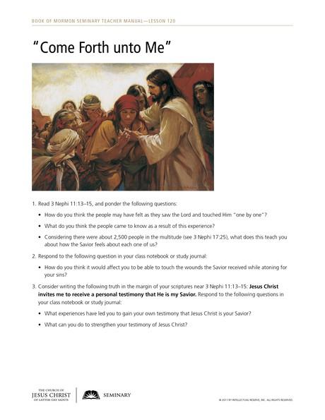 handout, come forth unto me