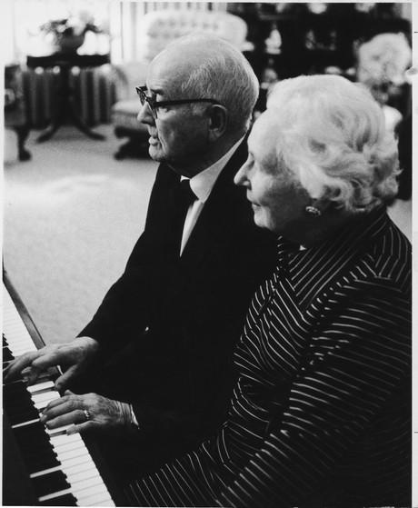President and Sister Kimball at piano