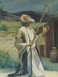 Abraham kneeling in front of tent