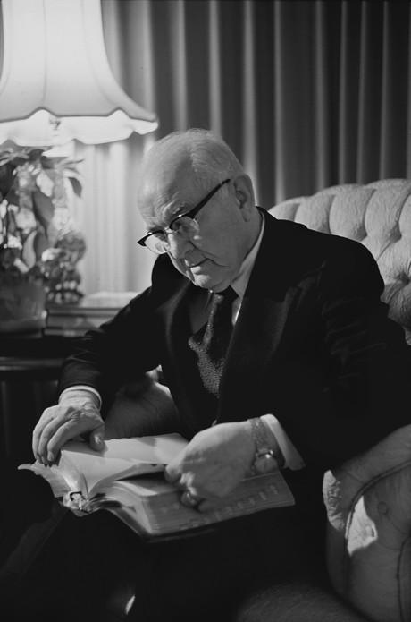 President Kimball reading scriptures