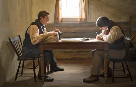 Joseph and Oliver working on translation of Book of Mormon