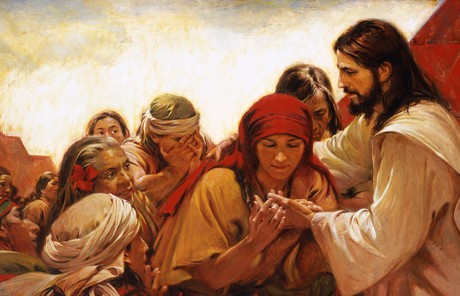 Jesus Christ ministering to the Nephites