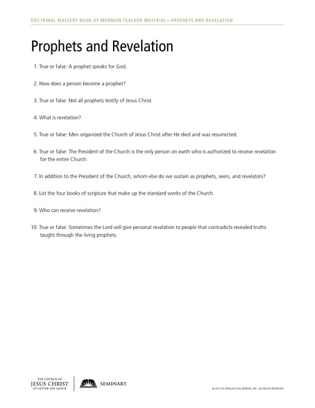 handout, Prophets and Revelation