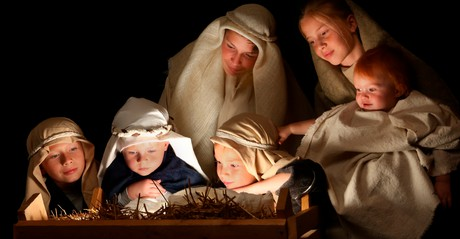 Children reenacting the Nativity