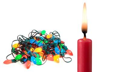 Christmas lights and candle