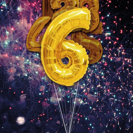 balloon shaped like the number 6