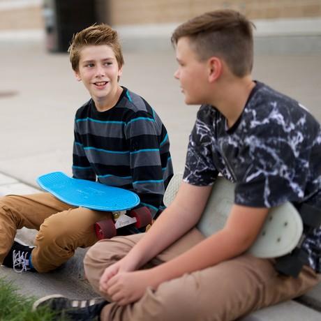 young men talking