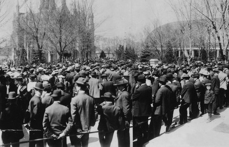 historical photograph of general conference overflow